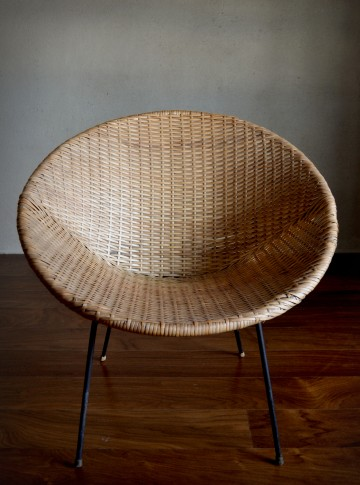 1960\'s Rattan Wicker Tub Chair | Vintro
