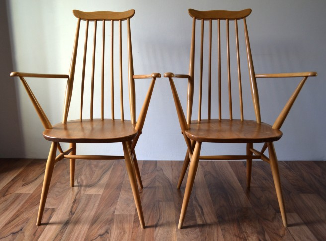 Ercol Goldsmith Carver Chairs Pair Vintro