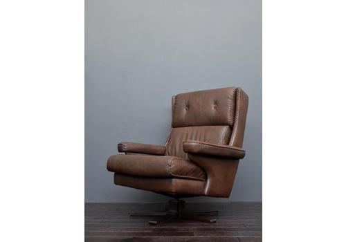 Danish Rosewood U0026 Brown Leather Swivel Chair | Vintro