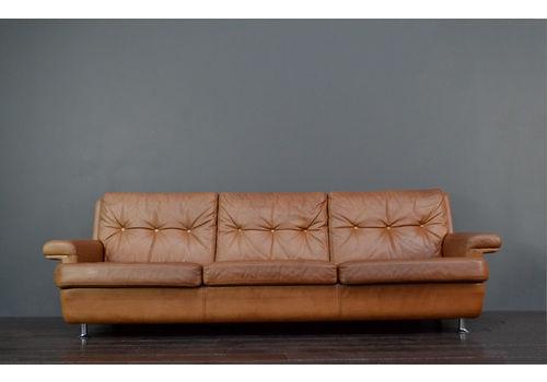 Mid Century Danish Tan Leather Sofa   Vintro