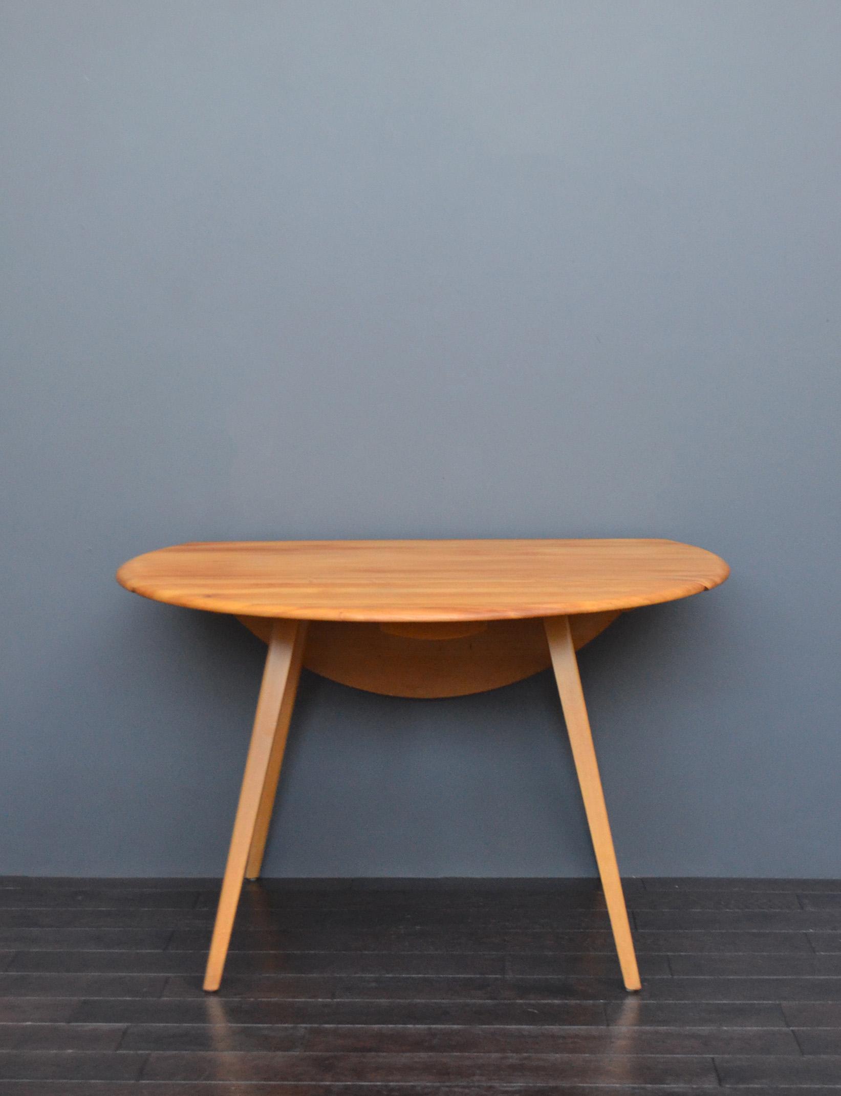 Mid Century Ercol Beech Elm Drop Leaf Dining Table Vintro